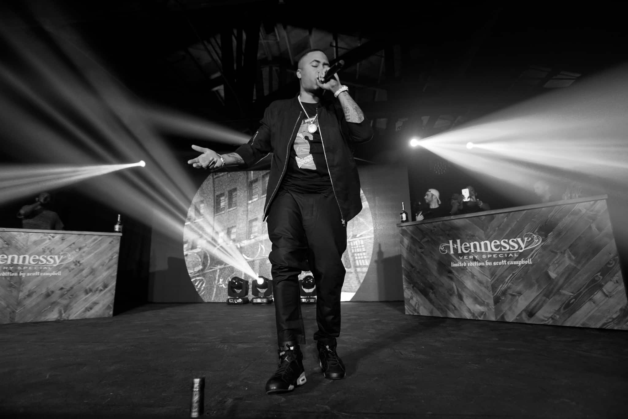 Rapper Nas at Hennessy experiential event